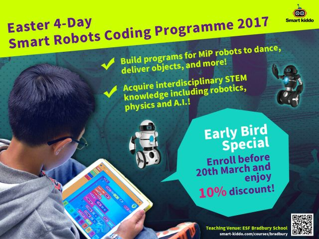 Enrollment Now Open: Easter 4-Day Smart Robots Coding Programme 2017 at ESF Bradbury School